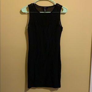 Small Black Dress with Mesh Neckline